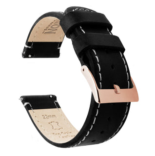 Load image into Gallery viewer, Black Leather | Linen Stitching Quick Release Leather Watch Bands Barton Watch Bands 22mm Rose Gold Standard
