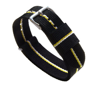 Load image into Gallery viewer, Black, Lemon & Ivory | Nylon NATO Style NATO Style Nylon Strap Barton Watch Bands 22mm Long - 11""
