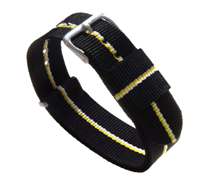 Black, Lemon & Ivory | Nylon NATO Style NATO Style Nylon Strap Barton Watch Bands 22mm Long - 11""