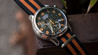 Load image into Gallery viewer, Black & Orange | Nylon NATO Style NATO Style Nylon Strap Barton Watch Bands