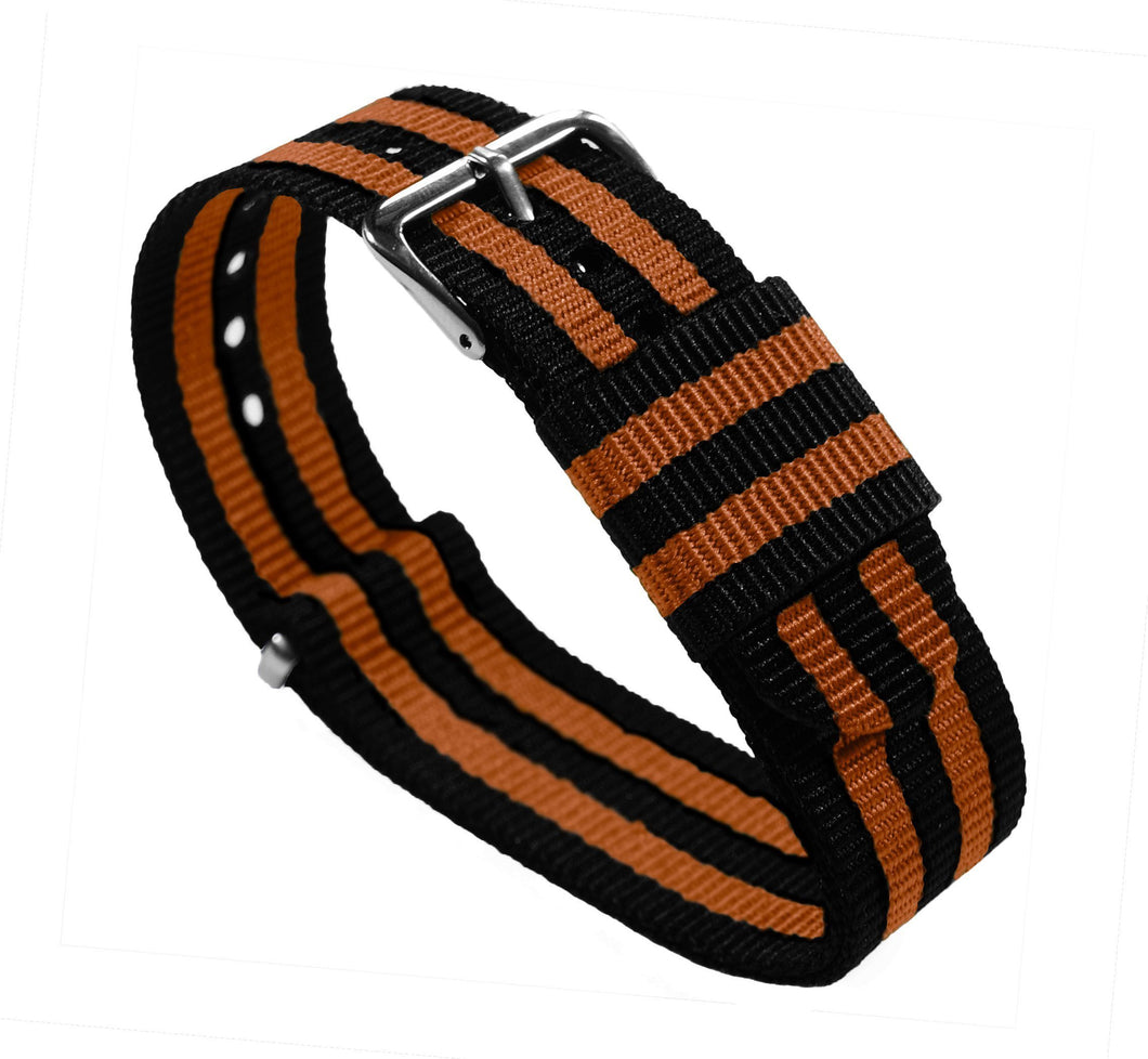 Black & Orange | Nylon NATO Style NATO Style Nylon Strap Barton Watch Bands