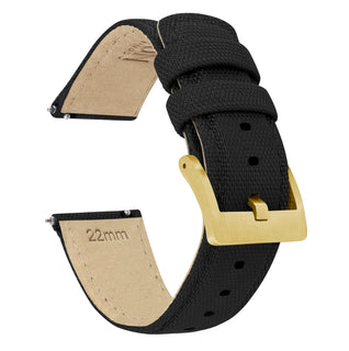 Load image into Gallery viewer, Black | Sailcloth Quick Release Sailcloth Quick Release Barton Watch Bands 18mm Gold