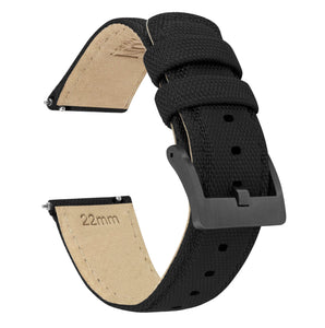 Black | Sailcloth Quick Release Sailcloth Quick Release Barton Watch Bands 18mm Gunmetal Grey