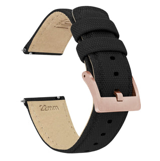Load image into Gallery viewer, Black | Sailcloth Quick Release Sailcloth Quick Release Barton Watch Bands 18mm Rose Gold