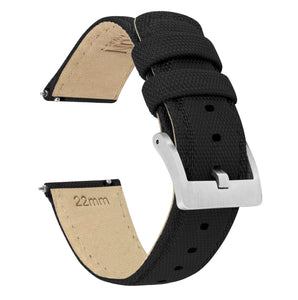 Black | Sailcloth Quick Release Sailcloth Quick Release Barton Watch Bands 24mm Stainless Steel