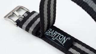 Load image into Gallery viewer, Black & Steel Grey (Bond) | Jetson NATO Style - Barton Watch Bands