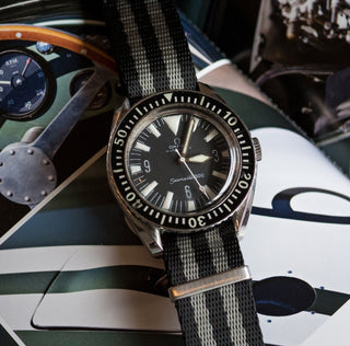 Load image into Gallery viewer, Black & Steel Grey (Bond) | Jetson NATO Style Jetson NATO Style Strap Barton Watch Bands