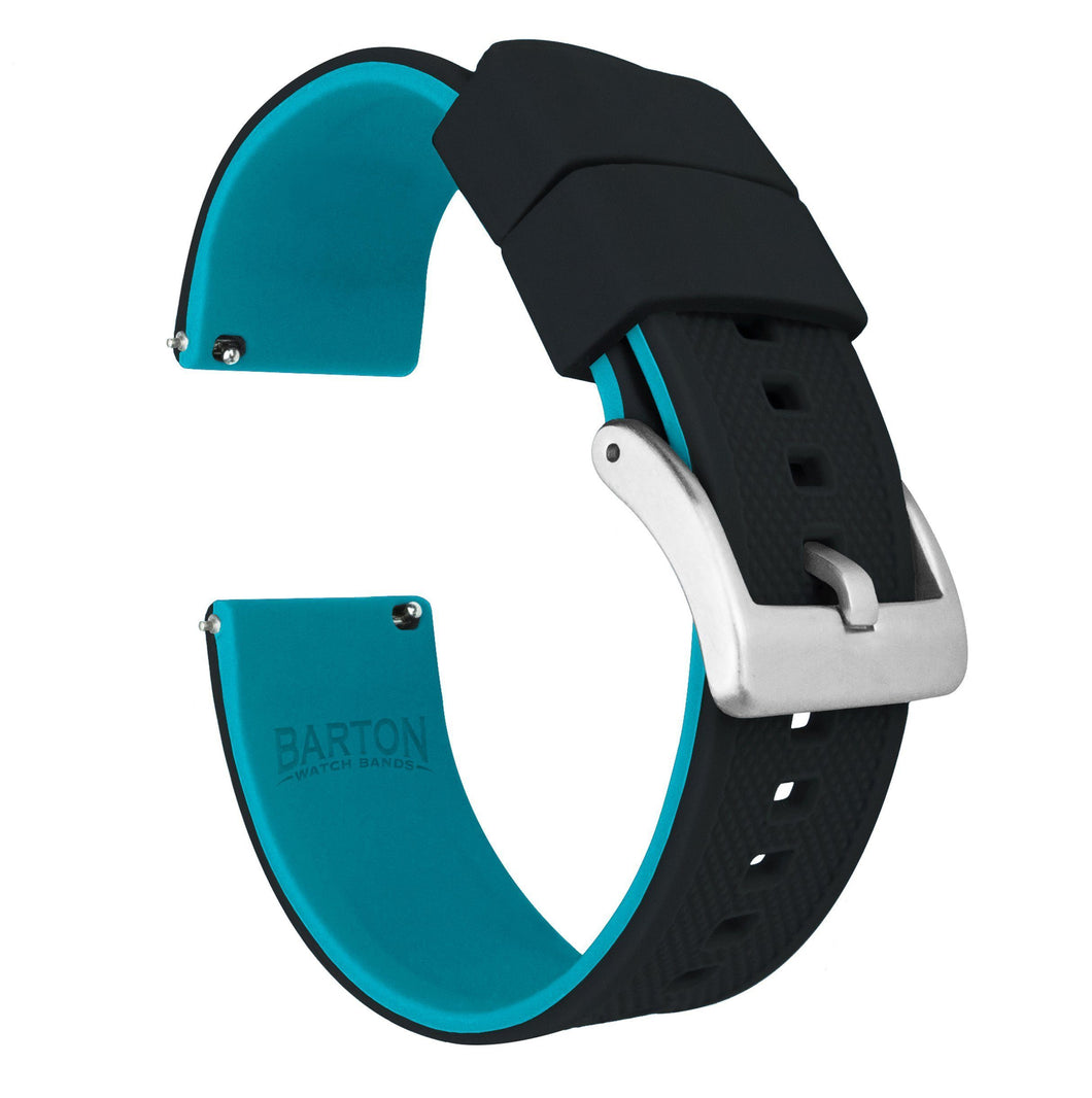 Black Top / Aqua Blue Bottom | Elite Silicone Elite Silicone Barton Watch Bands 22mm Stainless Steel