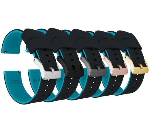 Black Top / Aqua Blue Bottom | Elite Silicone - Barton Watch Bands