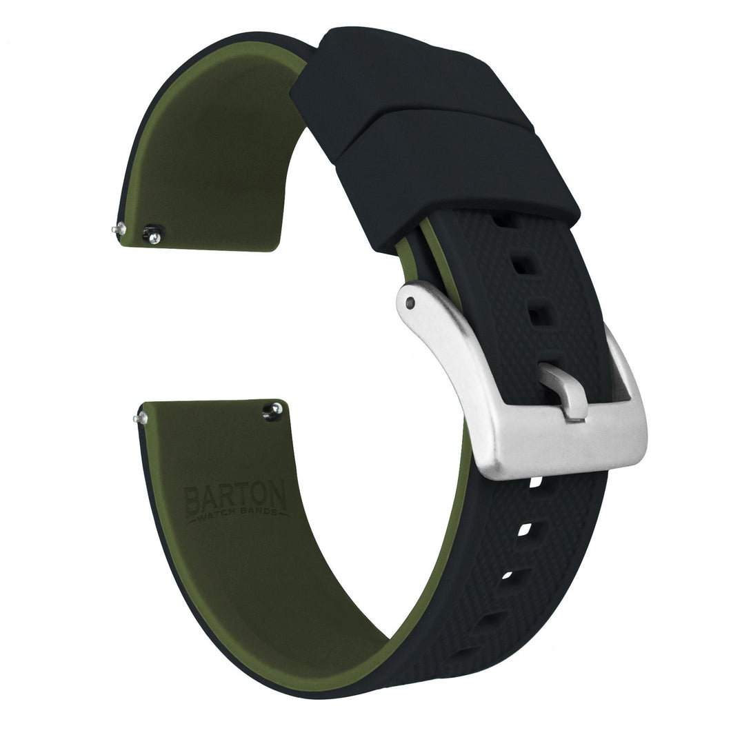 Black Top / Army Green Bottom | Elite Silicone Elite Silicone Barton Watch Bands 22mm Stainless Steel