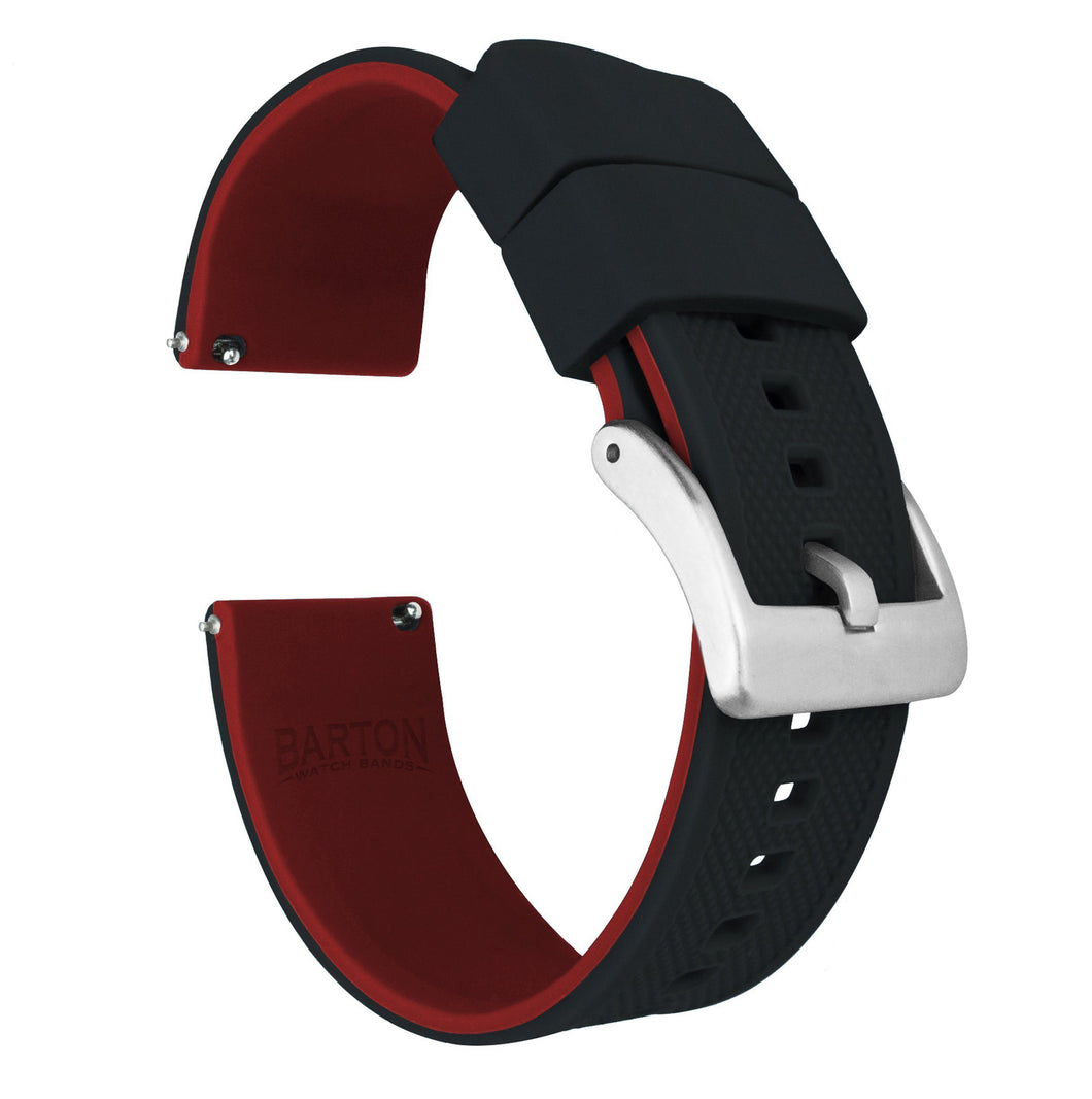 Black Top / Crimson Red Bottom | Elite Silicone Elite Silicone Barton Watch Bands 22mm Stainless Steel Standard