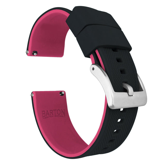 Black Top / Pink Bottom | Elite Silicone Elite Silicone Barton Watch Bands 20mm Stainless Steel