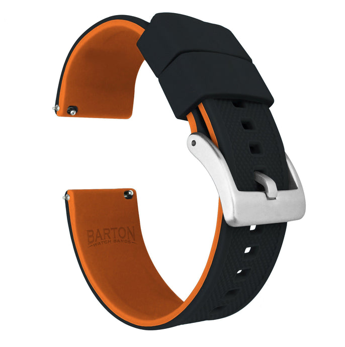 Black Top / Pumpkin Orange Bottom | Elite Silicone Elite Silicone Barton Watch Bands 22mm Stainless Steel Standard