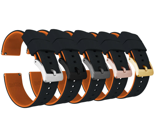 Black Top / Pumpkin Orange Bottom | Elite Silicone Elite Silicone Barton Watch Bands