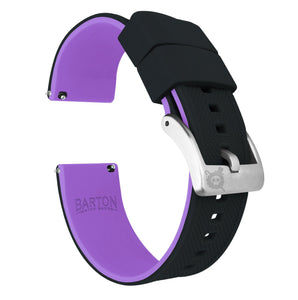 Black Top / Purple Bottom | Elite Silicone Elite Silicone Barton Watch Bands 22mm Stainless Steel