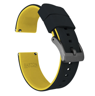 Load image into Gallery viewer, Black Top / Yellow Bottom | Elite Silicone - Barton Watch Bands