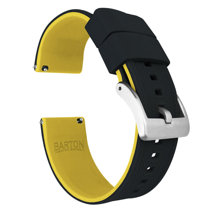 Black Top / Yellow Bottom | Elite Silicone Elite Silicone Barton Watch Bands 24mm Stainless Steel