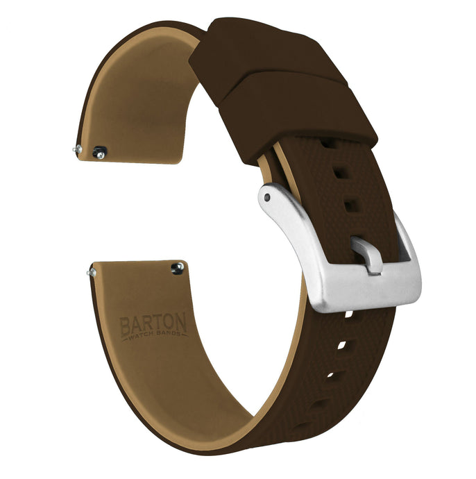 Brown Top / Khaki Bottom | Elite Silicone Elite Silicone Barton Watch Bands 20mm Stainless Steel