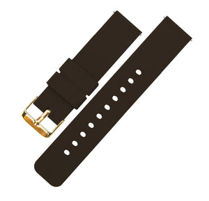 Chocolate Brown | Soft Silicone Quick Release Silicone Watch Band Barton Watch Bands 16mm Gold