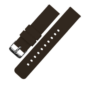 Chocolate Brown | Soft Silicone Quick Release Silicone Watch Band Barton Watch Bands 16mm Gunmetal Grey