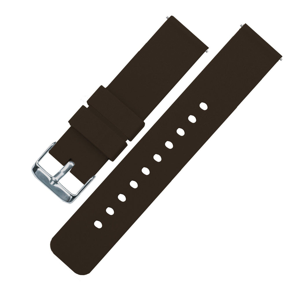Chocolate Brown | Soft Silicone Quick Release Silicone Watch Band Barton Watch Bands 16mm Stainless Steel
