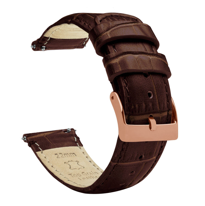 Coffee Brown | Alligator Grain Leather Quick Release Leather Watch Bands Barton Watch Bands 18mm Rose Gold Standard