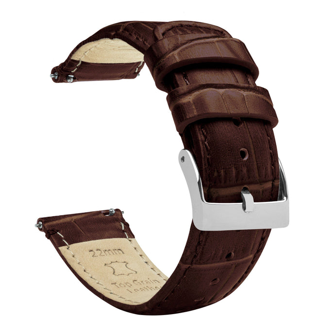Coffee Brown | Alligator Grain Leather Quick Release Leather Watch Bands Barton Watch Bands 18mm Stainless Steel Standard