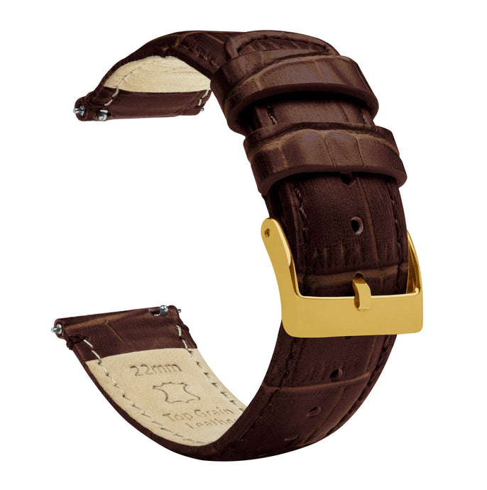 Coffee Brown | Alligator Grain Leather Quick Release Leather Watch Bands Barton Watch Bands 22mm Gold Standard