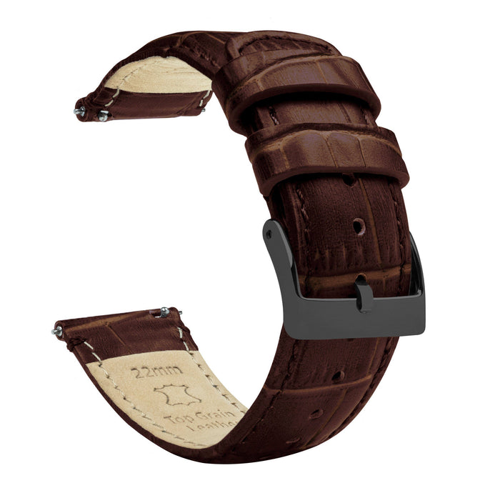 Coffee Brown | Alligator Grain Leather Quick Release Leather Watch Bands Barton Watch Bands 22mm Gunmetal Grey Standard