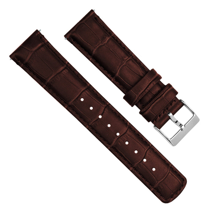 Coffee Brown | Alligator Grain Leather Quick Release Leather Watch Bands Barton Watch Bands