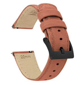 Copper Orange | Sailcloth Quick Release Sailcloth Quick Release Barton Watch Bands 18mm Black PVD