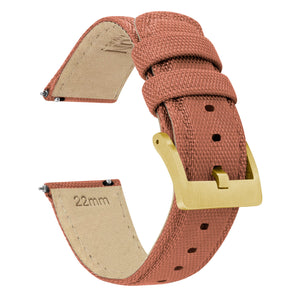 Copper Orange | Sailcloth Quick Release Sailcloth Quick Release Barton Watch Bands 18mm Gold