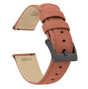 Copper Orange | Sailcloth Quick Release Sailcloth Quick Release Barton Watch Bands 18mm Gunmetal Grey
