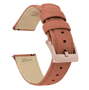 Copper Orange | Sailcloth Quick Release Sailcloth Quick Release Barton Watch Bands 18mm Rose Gold