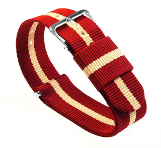 Load image into Gallery viewer, Crimson & Khaki | Nylon NATO Style NATO Style Nylon Strap Barton Watch Bands