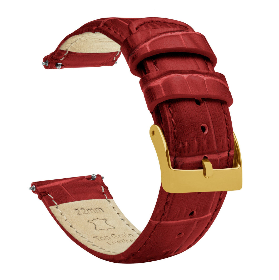 Crimson Red | Alligator Grain Leather Quick Release Leather Watch Bands Barton Watch Bands 18mm Gold