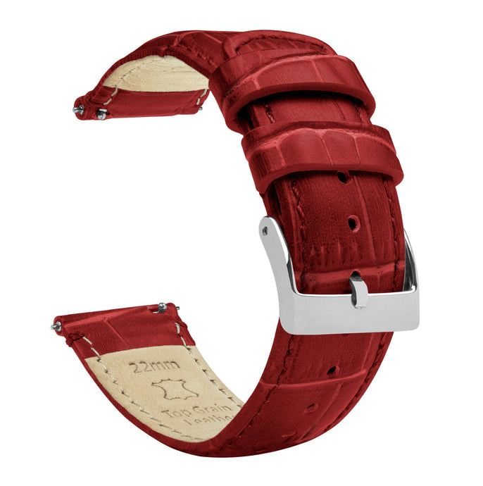 Crimson Red | Alligator Grain Leather Quick Release Leather Watch Bands Barton Watch Bands 18mm Stainless Steel
