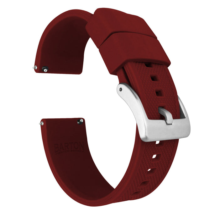 Crimson Red | Elite Silicone Elite Silicone Barton Watch Bands 22mm Stainless Steel