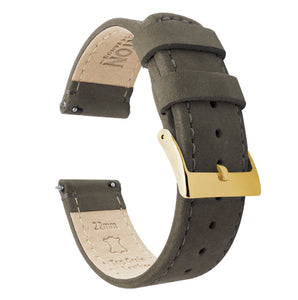 Espresso Leather | Espresso Stitching Quick Release Leather Watch Bands Barton Watch Bands 20mm Gold Standard