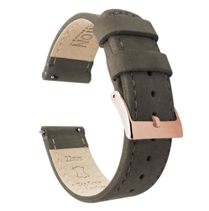 Espresso Leather | Espresso Stitching Quick Release Leather Watch Bands Barton Watch Bands 20mm Rose Gold Standard