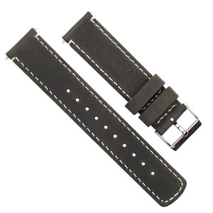 Espresso Leather | Linen Stitching Quick Release Leather Watch Bands Barton Watch Bands