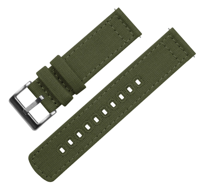 Fossil Gen 5 | Army Green Canvas Fossil Gen 5 Barton Watch Bands