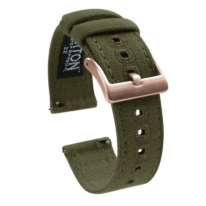 Fossil Gen 5 | Army Green Canvas Fossil Gen 5 Barton Watch Bands Rose Gold