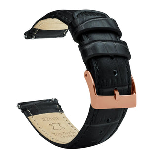 Load image into Gallery viewer, Fossil Gen 5 | Black Alligator Grain Leather Fossil Gen 5 Barton Watch Bands Rose Gold