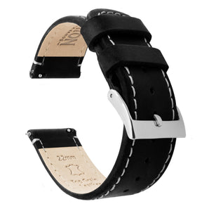 Fossil Gen 5 | Black Leather & Linen White Stitching Fossil Gen 5 Barton Watch Bands Stainless Steel