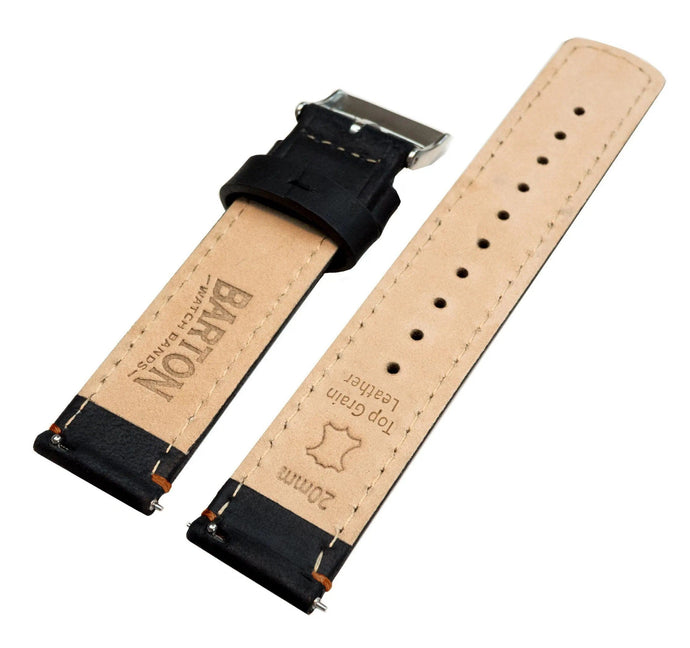 Fossil Gen 5 | Black Leather & Orange Stitching Fossil Gen 5 Barton Watch Bands
