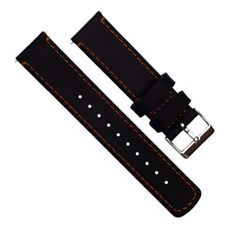 Load image into Gallery viewer, Fossil Gen 5 | Black Leather & Orange Stitching Fossil Gen 5 Barton Watch Bands