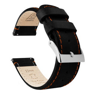 Load image into Gallery viewer, Fossil Gen 5 | Black Leather & Orange Stitching Fossil Gen 5 Barton Watch Bands Stainless Steel