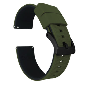 Fossil Gen 5 | Elite Silicone | Army Green Top / Black Bottom Fossil Gen 5 Barton Watch Bands Black PVD
