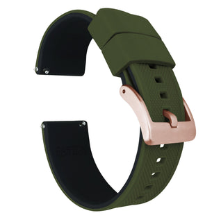 Load image into Gallery viewer, Fossil Gen 5 | Elite Silicone | Army Green Top / Black Bottom Fossil Gen 5 Barton Watch Bands Rose Gold